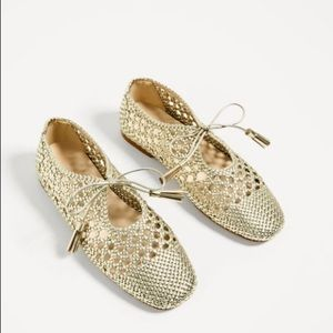 Zara Gold Braided Flats